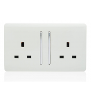 RED ARROW 2 Gang 13 Amp Long Switched Plug (White)