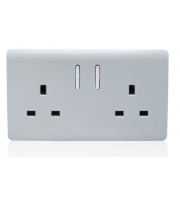 RED ARROW 2 Gang 13 Amp Short Switched Plug (Silver)