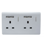 RED ARROW 2 Gang 13 Amp Short Switched Plug Usb (Silver)
