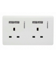 RED ARROW 2 Gang 13 Amp Short Switched Plug Usb (White)