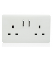 RED ARROW 2 Gang 13 Amp Short Switched Plug (White)