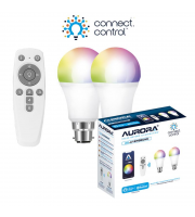 Aurora Bluetooth Smart Kit C/w 2x 8W B22 Gls Dimmable Rgbcx Led Lamps And Remote