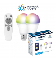 Aurora Bluetooth Smart Kit C/w 2x 8W E27 Gls Dimmable Rgbcx Led Lamps And Remote
