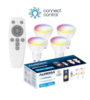 Aurora Bluetooth Smart Kit C/w 4x 5W GU10 Dimmable Rgbcx Led Lamps And Remote