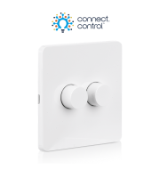 Aurora Bluetooth Wireless Battery Rotary Dimmer 2 Gang White (including Batteries)