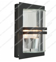 Elstead Basel 1 Light Wall Lantern - Black With Clear Glass