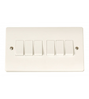 Click Scolmore 6-GANG 2-WAY 10A Plate Switch