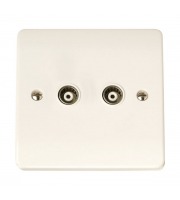 Click Scolmore Isolated Coaxial Socket Twin Outlet