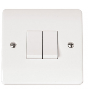 Click Scolmore 10AX 2 Gang 2 Way Plate Switch (White)