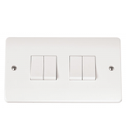 Click Scolmore 4-GANG 2-WAY 10A Plate Switch