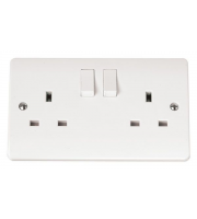 Click Scolmore 13A 2 Gang Dp Switched Socket (White)