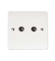 Click Scolmore Non-isolated Twin Coaxial Outlet (unshielded) (White)