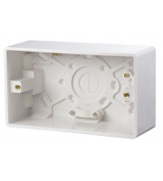 Click Scolmore 2 Gang 47mm Deep Pattress Box Fitted With Cable Restraint & Earth Terminal (White)
