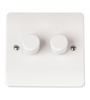 Click Scolmore 2 Gang 2 Way 250Va Dimmer Switch (White)