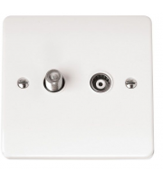 Click Scolmore Isolated Satellite & Isolated Coaxial Outlet (White)