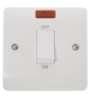 Click Scolmore 45A 1 Gang Dp Switch With White Rocker & Neon (White)