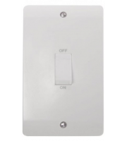 Click Scolmore 45A 2 Gang Dp Switch With White Rocker (White)