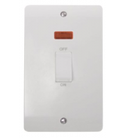 Click Scolmore 45A 2 Gang Dp Switch With White Rocker & Neon (White)
