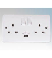 Click Scolmore 13A 2 Gang Switched Socket With 2.1A Usb Outlet (twin Earth) (White)