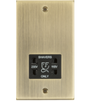 ML ACCESSORIES 115-230V Dual Voltage Shaver Socket With Black Insert - Square Edge Antique Brass