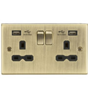 ML ACCESSORIES Array 13A 2G Switched Socket Dual USB Charger Slots with Black Insert - Square Edge Antique Brass