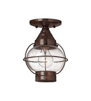 Elstead Capecod 1 Light Flush Lantern (Sienna Bronze)