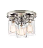Elstead Brinley 3 Light Flush Mount - (Brushed Nickel)