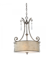 Elstead Kendra 2 Light Pendant Light (Mottled Silver)