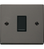 Click Scolmore 10AX 1 Gang 2 Way Plate Switch - Black - (Black Nickel)