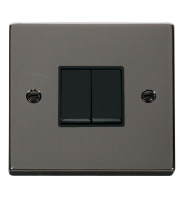 Click Scolmore 10AX 2 Gang 2 Way Plate Switch - Black - (Black Nickel)