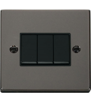 Click Scolmore 10AX 3 Gang 2 Way Plate Switch - Black - (Black Nickel)