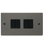 Click Scolmore 10AX 4 Gang 2 Way Plate Switch - Black -  (Black Nickel)