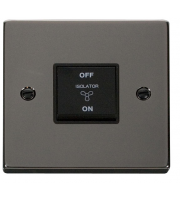 Click Scolmore 10A 3 Pole Fan Isolation Switch - Black - (Black Nickel)