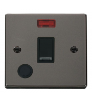 Click Scolmore 20A Dp Switch With Neon & Optional Flex Outlet - Black - (Black Nickel)