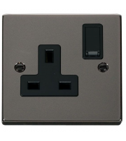 Click Scolmore 13A 1 Gang Dp Switched Socket - Black - (Black Nickel)