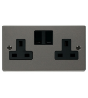 Click Scolmore 13A 2 Gang Dp Switched Socket - Black - (Black Nickel)