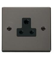 Click Scolmore 5A Round Pin Socket - Black - (Black Nickel)