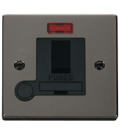 Click Scolmore 13A Dp Switched Fused Connection Unit With Neon & Optional Flex Outlet - Black - (Black Nickel)