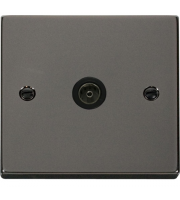 Click Scolmore Non-isolated Single Coaxial Outlet (unshielded) - Black - (Black Nickel)