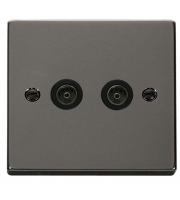 Click Scolmore Non-isolated Twin Coaxial Outlet (unshielded) - Black -  (Black Nickel)