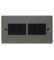 Click Scolmore 10AX 6 Gang 2 Way Plate Switch - Black - (Black Nickel)