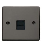 Click Scolmore Single Telephone Outlet - Master - Black - (Black Nickel)