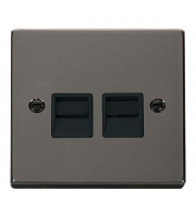 Click Scolmore Twin Telephone Outlet - Master - Black - (Black Nickel)
