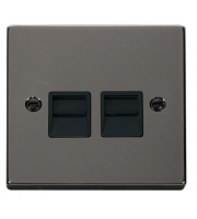 Click Scolmore Single Telephone Outlet - Secondary - Black - (Black Nickel)