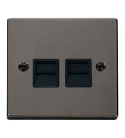 Click Scolmore Twin Telephone Outlet - Secondary - Black - (Black Nickel)