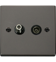 Click Scolmore Isolated Satellite & Isolated Coaxial Outlet - Black - (Black Nickel)