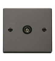 Click Scolmore Isolated Single Coaxial Outlet (unshielded) - Black - (Black Nickel)