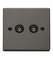 Click Scolmore Isolated Twin Coaxial Outlet (unshielded) - Black - (Black Nickel)