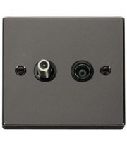 Click Scolmore Non-isolated Satellite & Non-isolated Coaxial Outlet - Black - (Black Nickel)