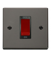 Click Scolmore 45A 1 Gang Dp Switch - Black - (Black Nickel)